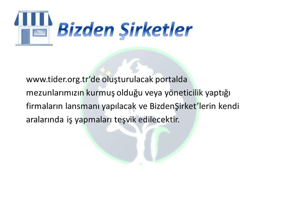 www.tider.org.tr'de oluşturulacak portalda mezunlarımızın kurmuş olduğu veya yöneticilik yaptığı firmaların lansmanı yapılacak ve BizdenŞirket'lerin kendi aralarında iş yapmaları teşvik edilecektir.