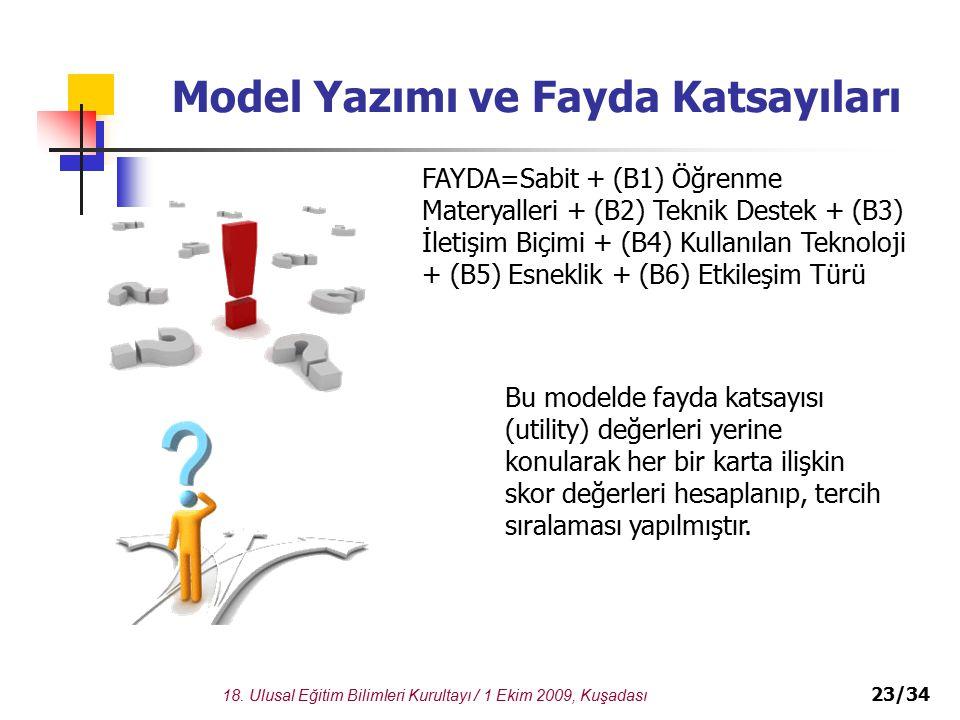 18. Ulusal Eğitim Bilimleri Kurultayı / 1 Ekim 2009, Kuşadası 23/34 Model Yazımı ve Fayda Katsayıları FAYDA=Sabit + (B1) Öğrenme Materyalleri + (B2) T