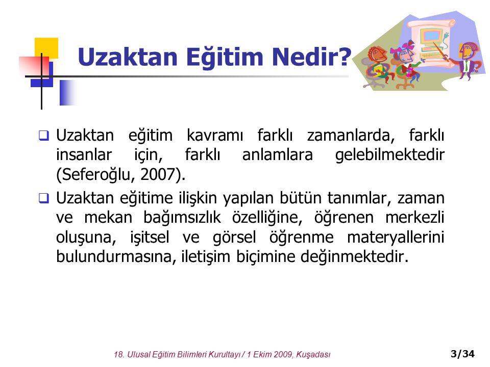 18.Ulusal Eğitim Bilimleri Kurultayı / 1 Ekim 2009, Kuşadası 3/34 Uzaktan Eğitim Nedir.