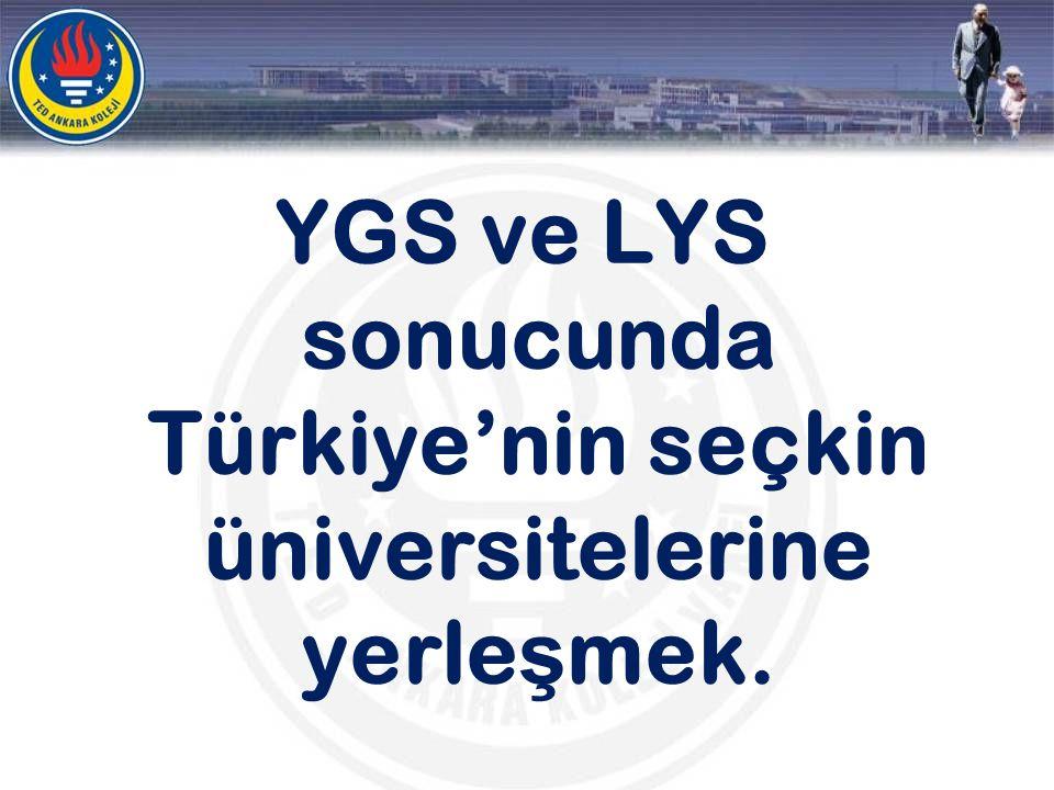 YGS ve LYS sonucunda Türkiye'nin seçkin üniversitelerine yerle ş mek.