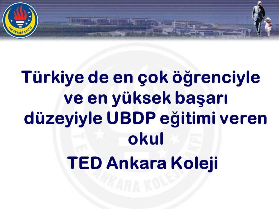 Türkiye de en çok ö ğ renciyle ve en yüksek ba ş arı düzeyiyle UBDP e ğ itimi veren okul TED Ankara Koleji