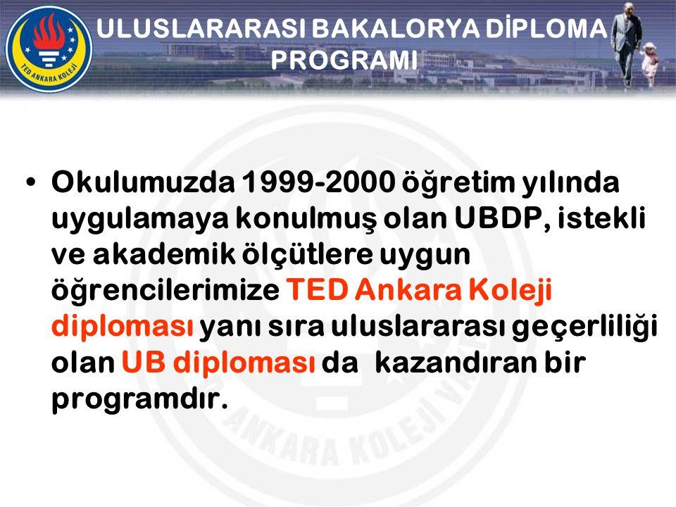 ULUSLARARASI BAKALORYA D İ PLOMA PROGRAMI Okulumuzda 1999-2000 ö ğ retim yılında uygulamaya konulmu ş olan UBDP, istekli ve akademik ölçütlere uygun ö