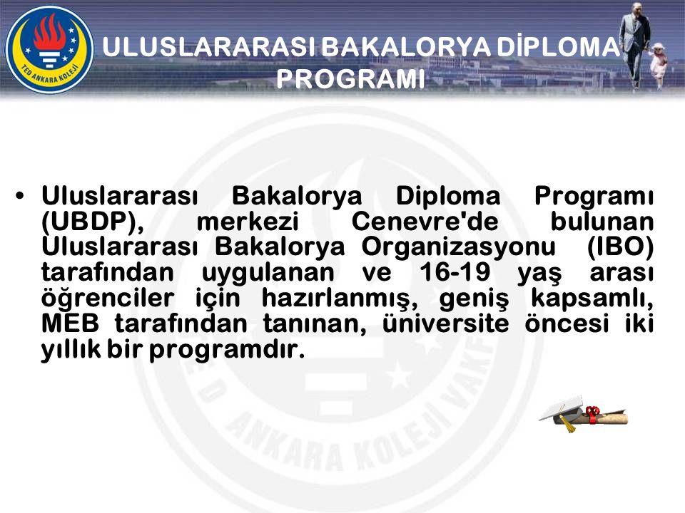 ULUSLARARASI BAKALORYA D İ PLOMA PROGRAMI Uluslararası Bakalorya Diploma Programı (UBDP), merkezi Cenevre'de bulunan Uluslararası Bakalorya Organizasy
