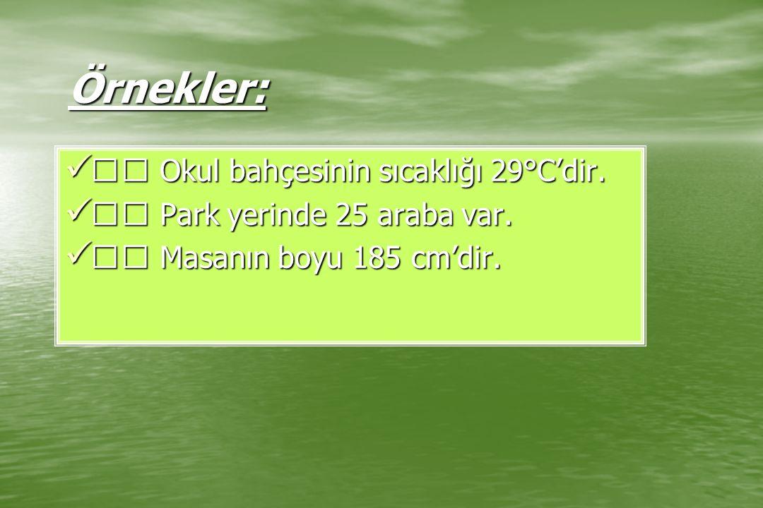 Örnekler: Okul bahçesinin sıcaklığı 29°C'dir. Okul bahçesinin sıcaklığı 29°C'dir. Park yerinde 25 araba var. Park yerinde 25 araba var. Masanın boyu 1