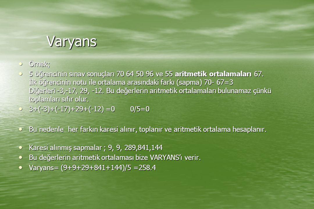 Varyans Örnek; Örnek; 5 öğrencinin sınav sonuçları 70 64 50 96 ve 55 aritmetik ortalamaları 67. İlk öğrencinin notu ile ortalama arasındaki farkı (sap