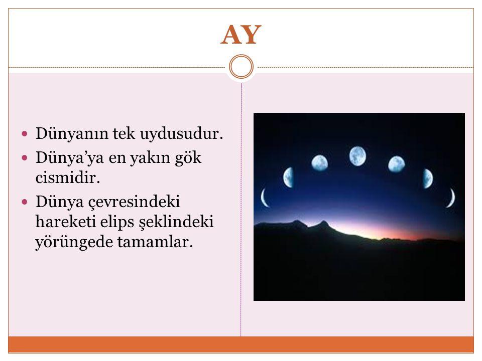 AY Dünyanın tek uydusudur.Dünya'ya en yakın gök cismidir.
