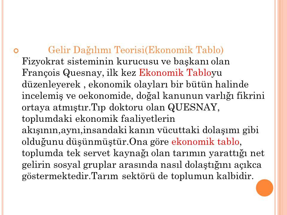 Gelir Dağılımı Teorisi(Ekonomik Tablo) Fizyokrat sisteminin kurucusu ve başkanı olan François Quesnay, ilk kez Ekonomik Tabloyu düzenleyerek, ekonomik