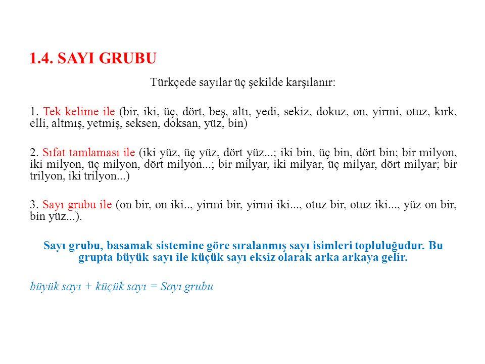 1.4. SAYI GRUBU Türkçede sayılar üç şekilde karşılanır: 1. Tek kelime ile (bir, iki, üç, dört, beş, altı, yedi, sekiz, dokuz, on, yirmi, otuz, kırk, e