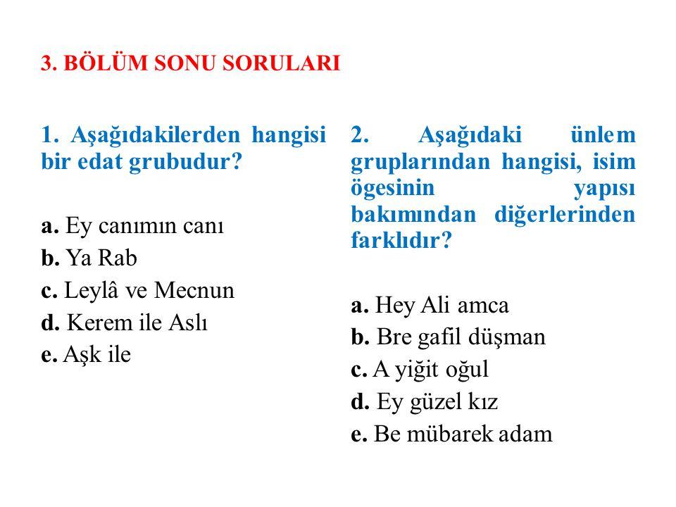 3. BÖLÜM SONU SORULARI 1. Aşağıdakilerden hangisi bir edat grubudur? a. Ey canımın canı b. Ya Rab c. Leylâ ve Mecnun d. Kerem ile Aslı e. Aşk ile 2. A