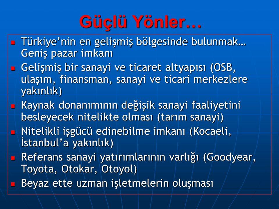 Güçlü Yönler… Türkiye'nin en gelişmiş bölgesinde bulunmak… Geniş pazar imkanı Türkiye'nin en gelişmiş bölgesinde bulunmak… Geniş pazar imkanı Gelişmiş bir sanayi ve ticaret altyapısı (OSB, ulaşım, finansman, sanayi ve ticari merkezlere yakınlık) Gelişmiş bir sanayi ve ticaret altyapısı (OSB, ulaşım, finansman, sanayi ve ticari merkezlere yakınlık) Kaynak donanımının değişik sanayi faaliyetini besleyecek nitelikte olması (tarım sanayi) Kaynak donanımının değişik sanayi faaliyetini besleyecek nitelikte olması (tarım sanayi) Nitelikli işgücü edinebilme imkanı (Kocaeli, İstanbul'a yakınlık) Nitelikli işgücü edinebilme imkanı (Kocaeli, İstanbul'a yakınlık) Referans sanayi yatırımlarının varlığı (Goodyear, Toyota, Otokar, Otoyol) Referans sanayi yatırımlarının varlığı (Goodyear, Toyota, Otokar, Otoyol) Beyaz ette uzman işletmelerin oluşması Beyaz ette uzman işletmelerin oluşması