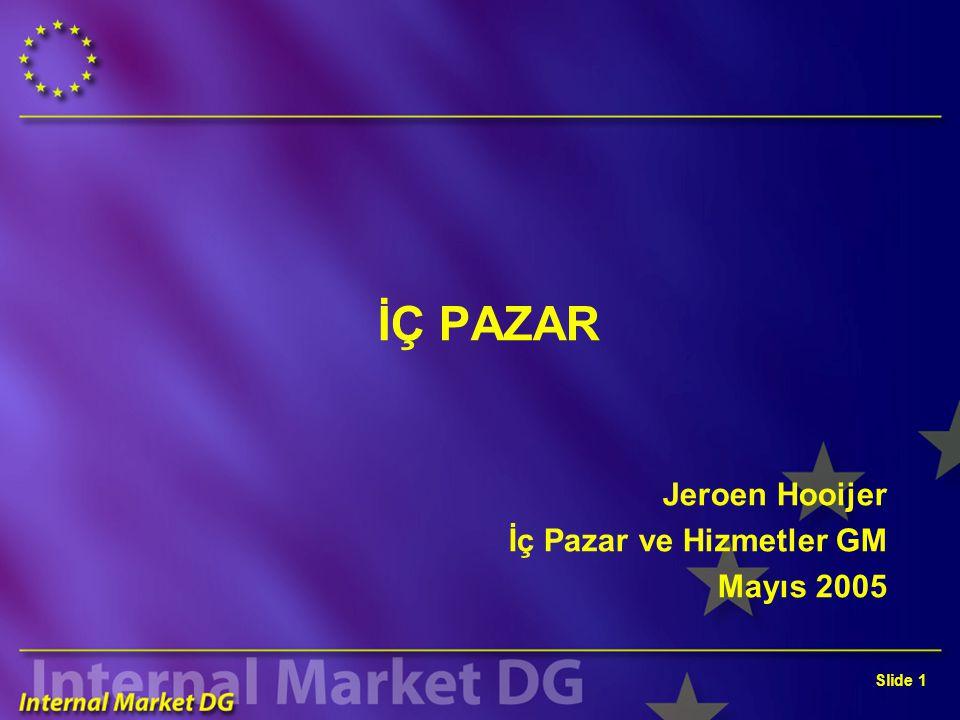 Slide 1 İÇ PAZAR Jeroen Hooijer İç Pazar ve Hizmetler GM Mayıs 2005