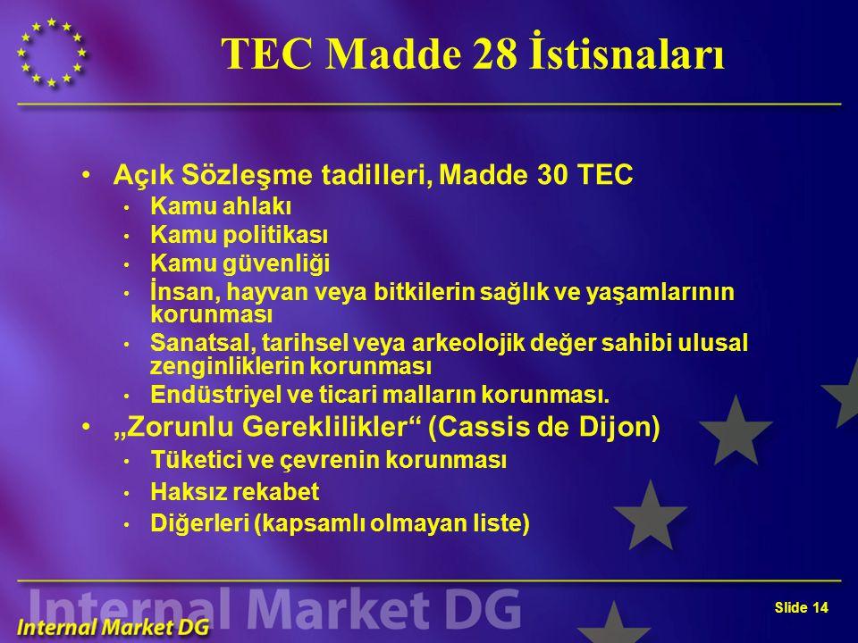 Slide 14 TEC Madde 28 İstisnaları Açık Sözleşme tadilleri, Madde 30 TEC Kamu ahlakı Kamu politikası Kamu güvenliği İnsan, hayvan veya bitkilerin sağlı