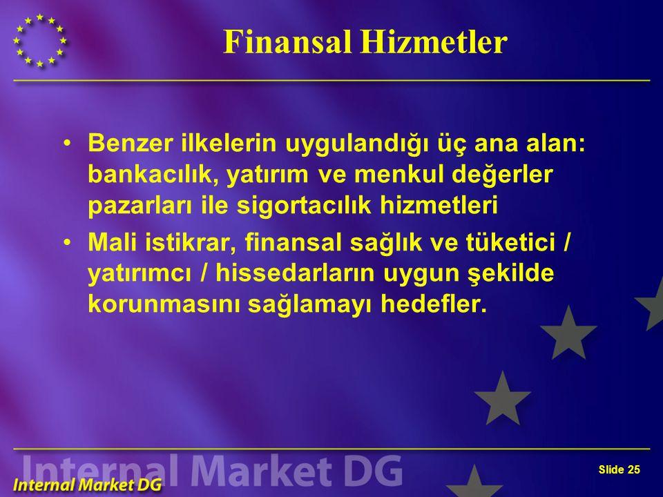 Slide 25 Finansal Hizmetler Benzer ilkelerin uygulandığı üç ana alan: bankacılık, yatırım ve menkul değerler pazarları ile sigortacılık hizmetleri Mali istikrar, finansal sağlık ve tüketici / yatırımcı / hissedarların uygun şekilde korunmasını sağlamayı hedefler.