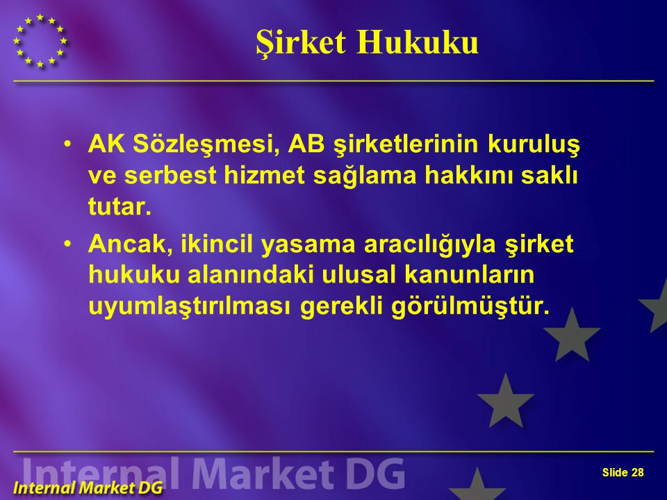 Slide 28 Şirket Hukuku AK Sözleşmesi, AB şirketlerinin kuruluş ve serbest hizmet sağlama hakkını saklı tutar. Ancak, ikincil yasama aracılığıyla şirke