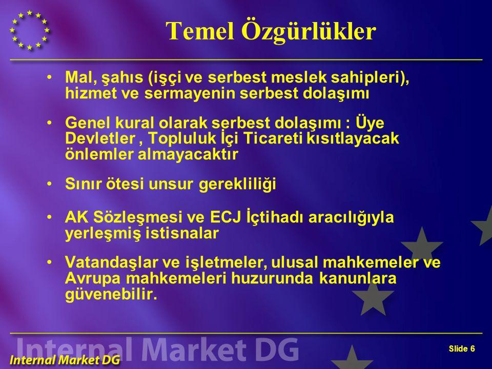 Slide 6 Temel Özgürlükler Mal, şahıs (işçi ve serbest meslek sahipleri), hizmet ve sermayenin serbest dolaşımı Genel kural olarak serbest dolaşımı : Ü