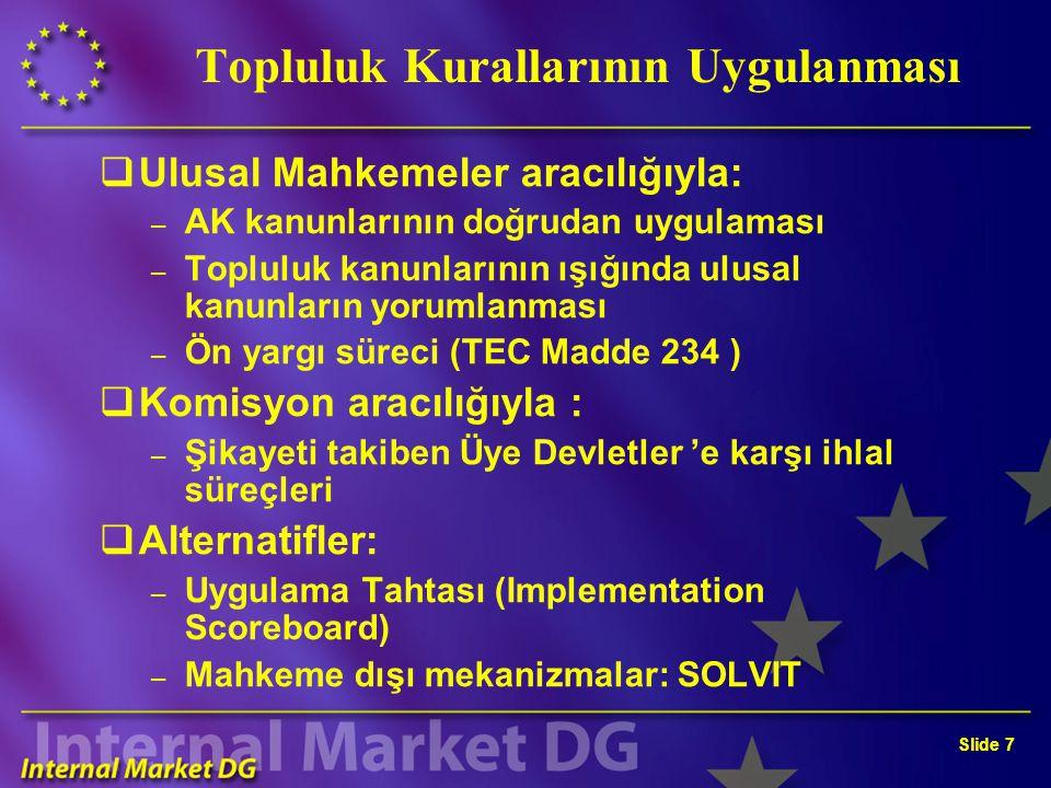 Slide 7 Topluluk Kurallarının Uygulanması  Ulusal Mahkemeler aracılığıyla: – AK kanunlarının doğrudan uygulaması – Topluluk kanunlarının ışığında ulu