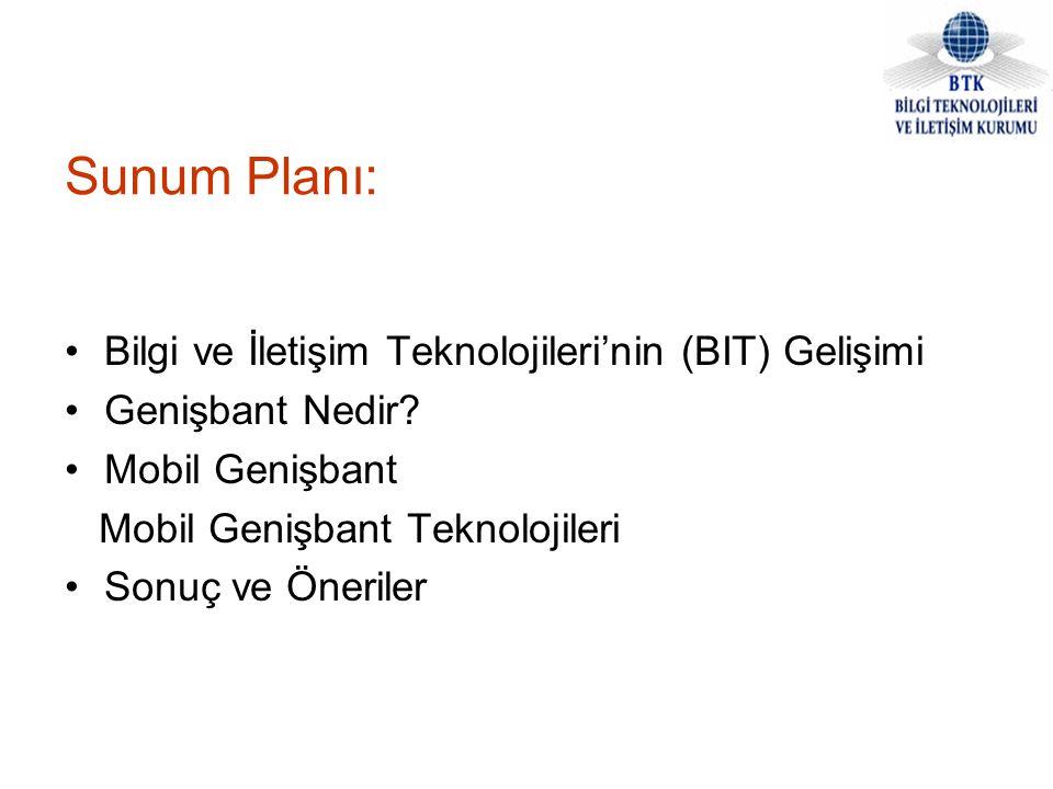 Sunum Planı: Bilgi ve İletişim Teknolojileri'nin (BIT) Gelişimi Genişbant Nedir? Mobil Genişbant Mobil Genişbant Teknolojileri Sonuç ve Öneriler