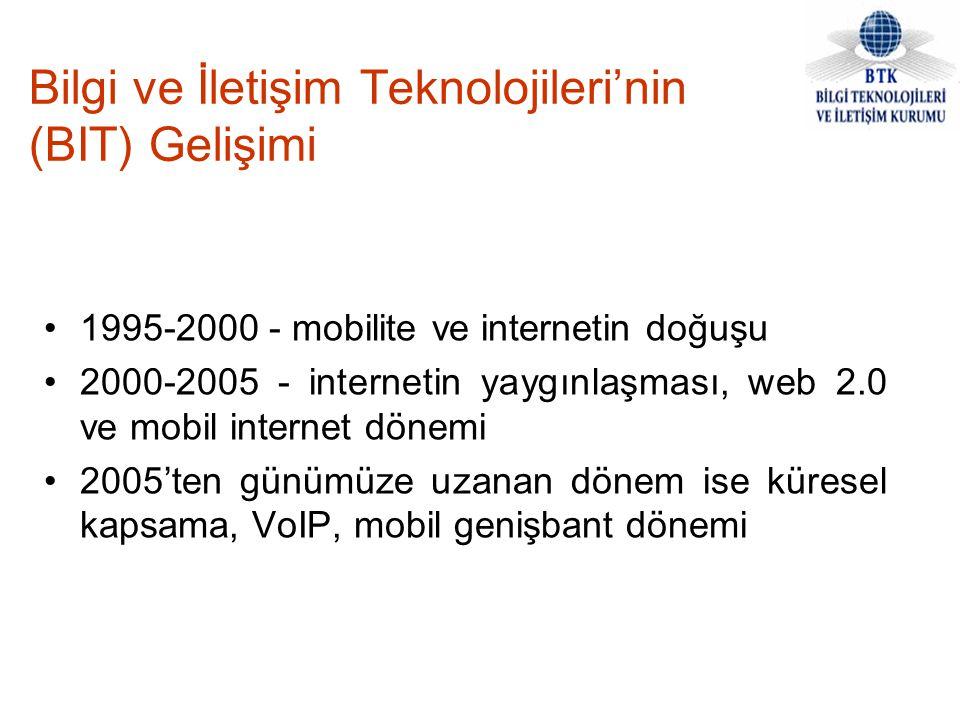 Bilgi ve İletişim Teknolojileri'nin (BIT) Gelişimi 1995-2000 - mobilite ve internetin doğuşu 2000-2005 - internetin yaygınlaşması, web 2.0 ve mobil in