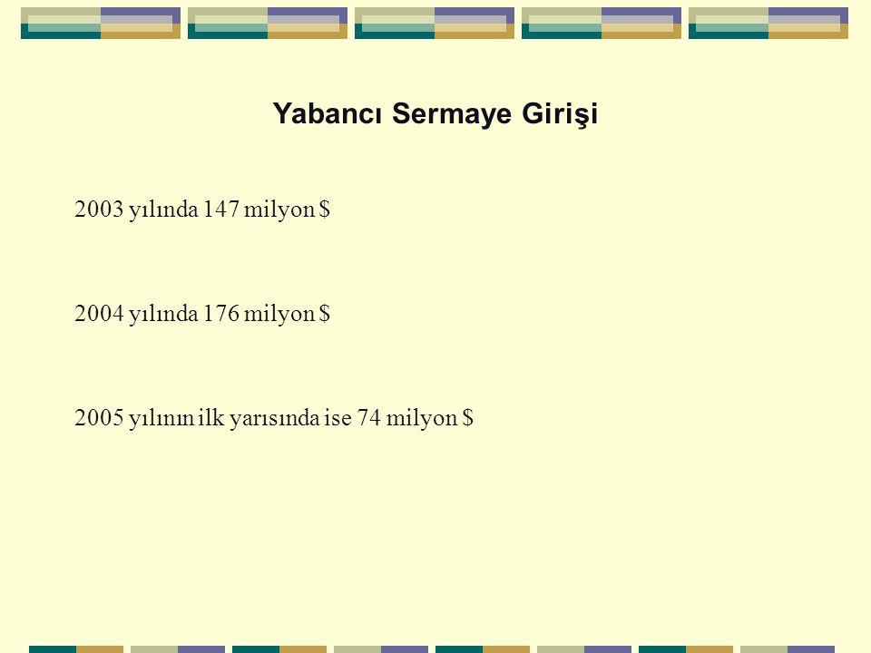 Yabancı Sermaye Girişi 2003 yılında 147 milyon $ 2004 yılında 176 milyon $ 2005 yılının ilk yarısında ise 74 milyon $