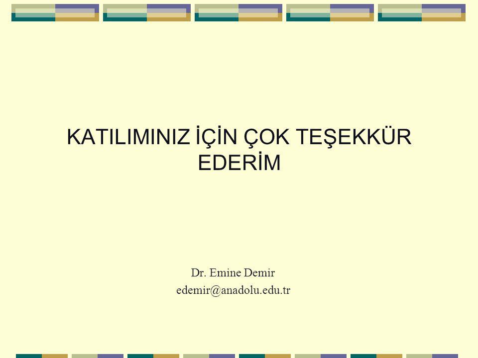 KATILIMINIZ İÇİN ÇOK TEŞEKKÜR EDERİM Dr. Emine Demir edemir@anadolu.edu.tr