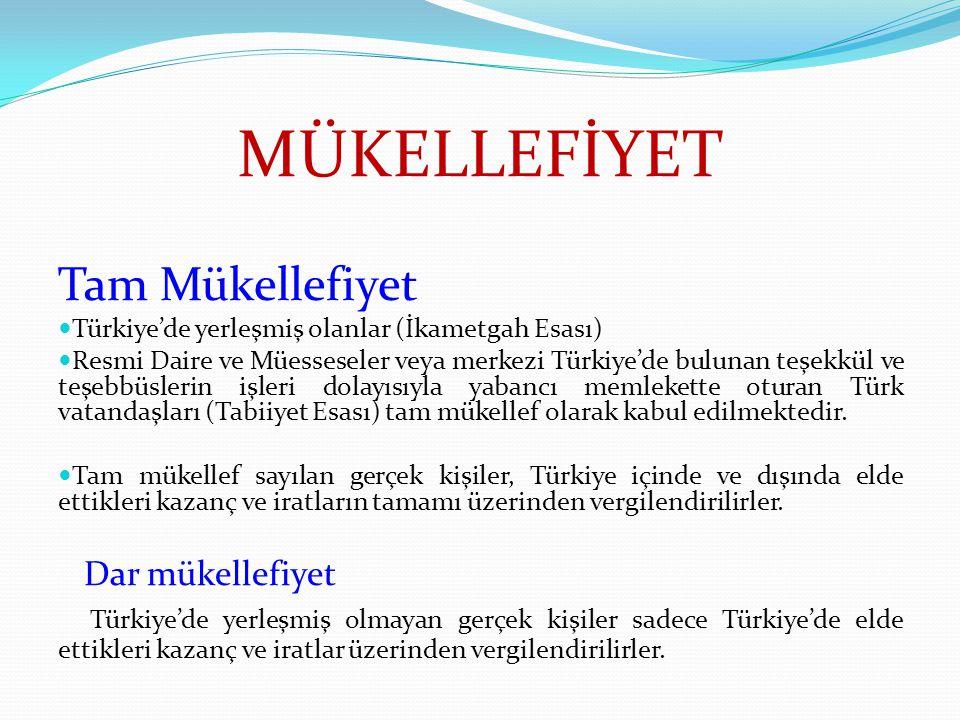MÜKELLEFİYET Tam Mükellefiyet Türkiye'de yerleşmiş olanlar (İkametgah Esası) Resmi Daire ve Müesseseler veya merkezi Türkiye'de bulunan teşekkül ve te