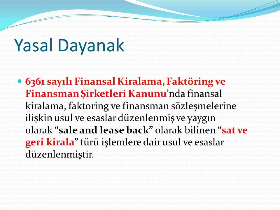 Yasal Dayanak 6361 sayılı Finansal Kiralama, Faktöring ve Finansman Şirketleri Kanunu'nda finansal kiralama, faktoring ve finansman sözleşmelerine ili