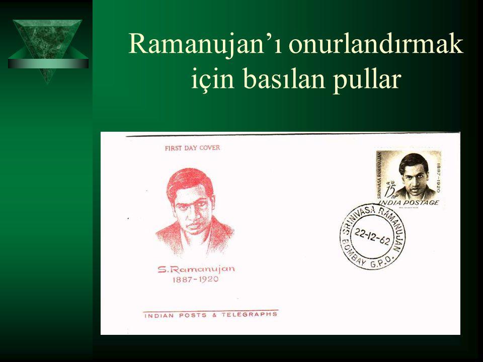 Ramanujan'ı onurlandırmak için basılan pullar