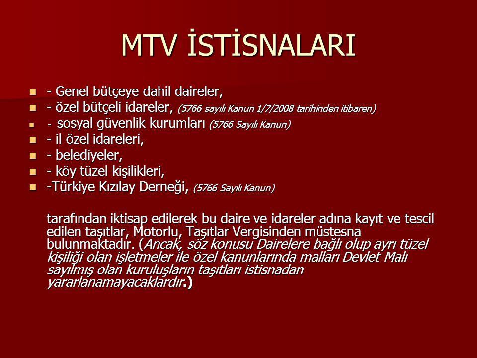 MTV İSTİSNALARI - Genel bütçeye dahil daireler, - Genel bütçeye dahil daireler, - özel bütçeli idareler, (5766 sayılı Kanun 1/7/2008 tarihinden itibar
