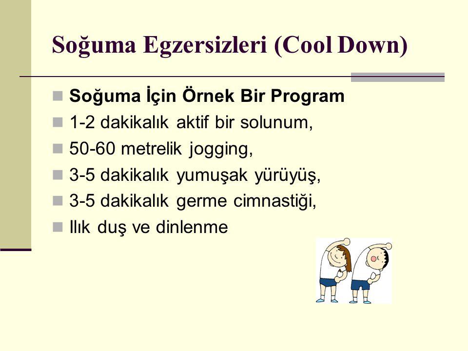 Soğuma Egzersizleri (Cool Down) Soğuma İçin Örnek Bir Program 1-2 dakikalık aktif bir solunum, 50-60 metrelik jogging, 3-5 dakikalık yumuşak yürüyüş, 3-5 dakikalık germe cimnastiği, Ilık duş ve dinlenme