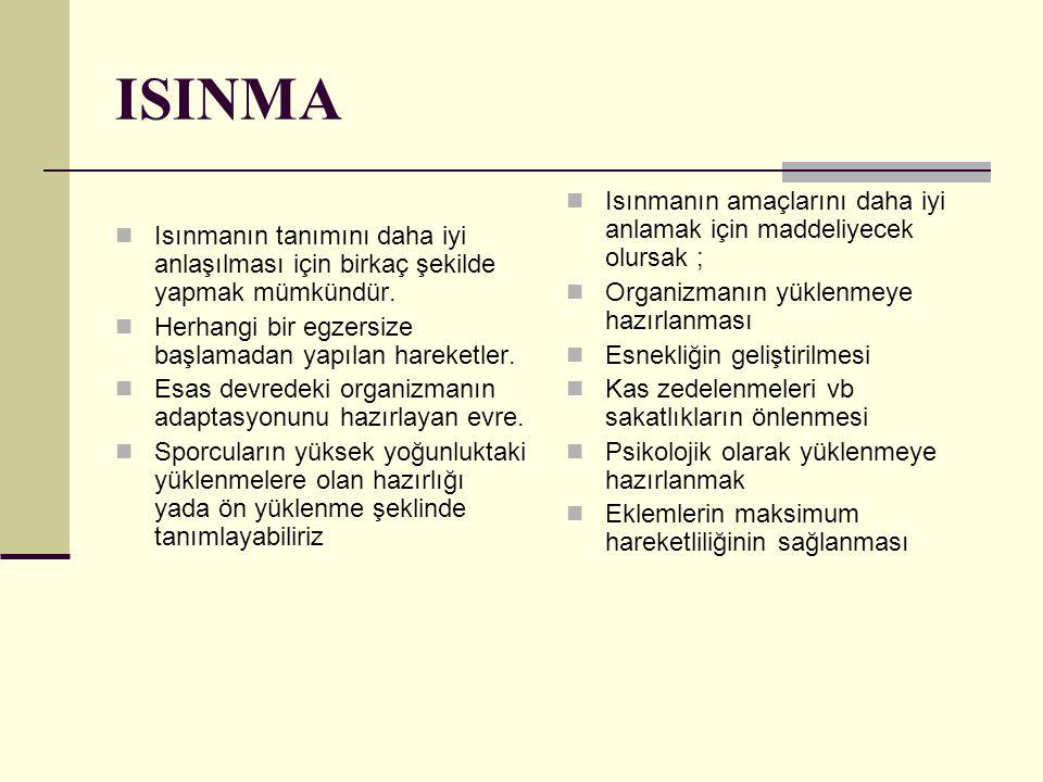 ISINMA Isınmanın tanımını daha iyi anlaşılması için birkaç şekilde yapmak mümkündür. Herhangi bir egzersize başlamadan yapılan hareketler. Esas devred
