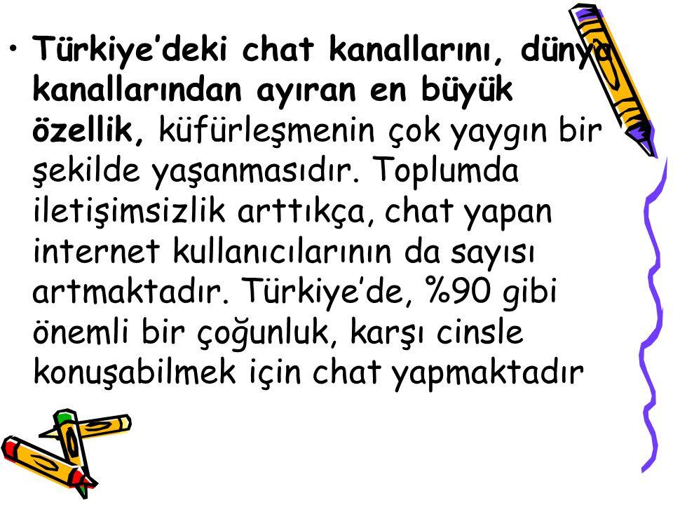 Türkiye'deki chat kanallarını, dünya kanallarından ayıran en büyük özellik, küfürleşmenin çok yaygın bir şekilde yaşanmasıdır. Toplumda iletişimsizlik