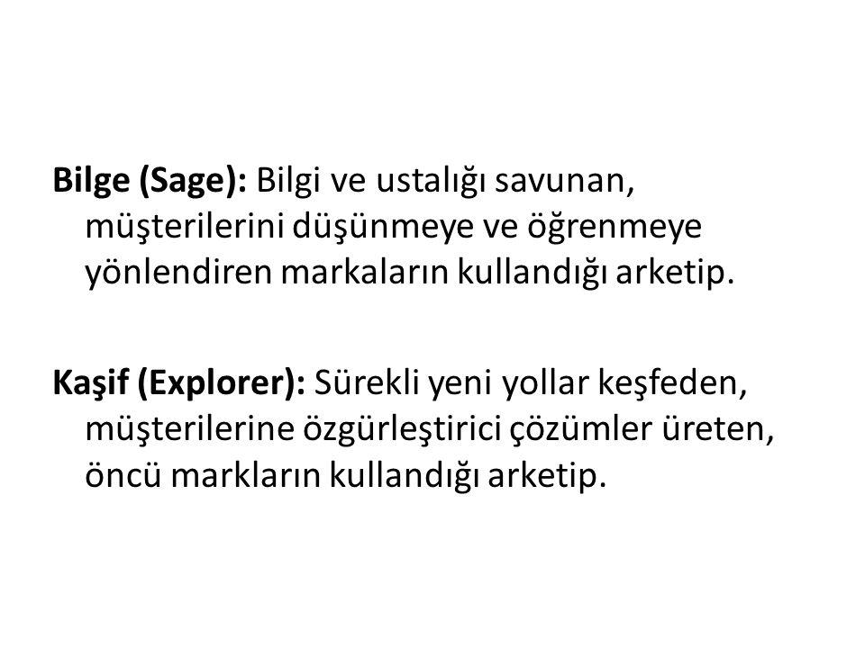 Bilge (Sage): Bilgi ve ustalığı savunan, müşterilerini düşünmeye ve öğrenmeye yönlendiren markaların kullandığı arketip. Kaşif (Explorer): Sürekli yen