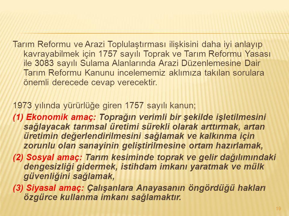Tarım Reformu ve Arazi Toplulaştırması ilişkisini daha iyi anlayıp kavrayabilmek için 1757 sayılı Toprak ve Tarım Reformu Yasası ile 3083 sayılı Sulam