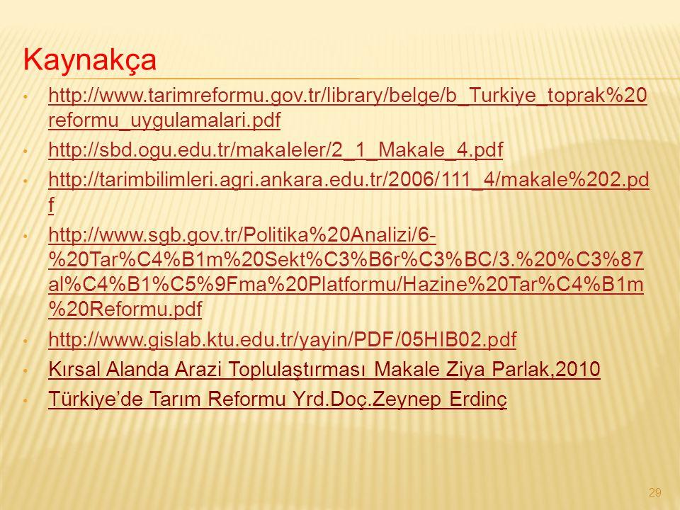 Kaynakça http://www.tarimreformu.gov.tr/library/belge/b_Turkiye_toprak%20 reformu_uygulamalari.pdf http://www.tarimreformu.gov.tr/library/belge/b_Turk