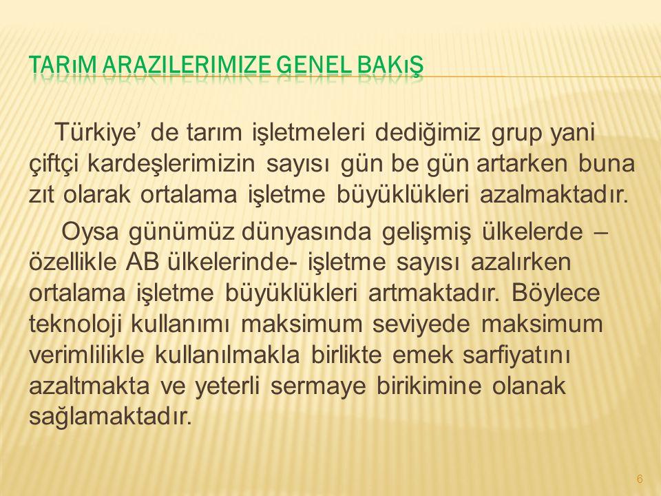 Türkiye' de tarım işletmeleri dediğimiz grup yani çiftçi kardeşlerimizin sayısı gün be gün artarken buna zıt olarak ortalama işletme büyüklükleri azal