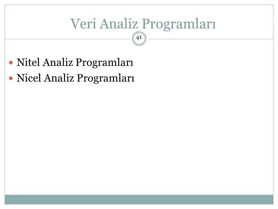 Nitel Analiz Programları Nicel Analiz Programları Doç.
