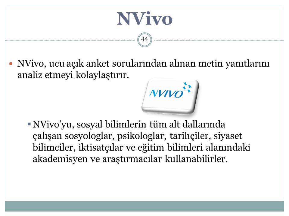 NVivo, ucu açık anket sorularından alınan metin yanıtlarını analiz etmeyi kolaylaştırır.
