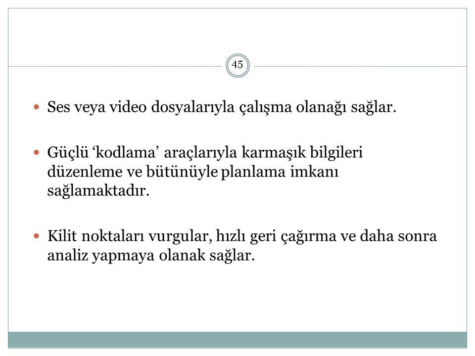 Ses veya video dosyalarıyla çalışma olanağı sağlar.