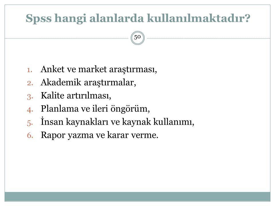 Spss hangi alanlarda kullanılmaktadır.1. Anket ve market araştırması, 2.