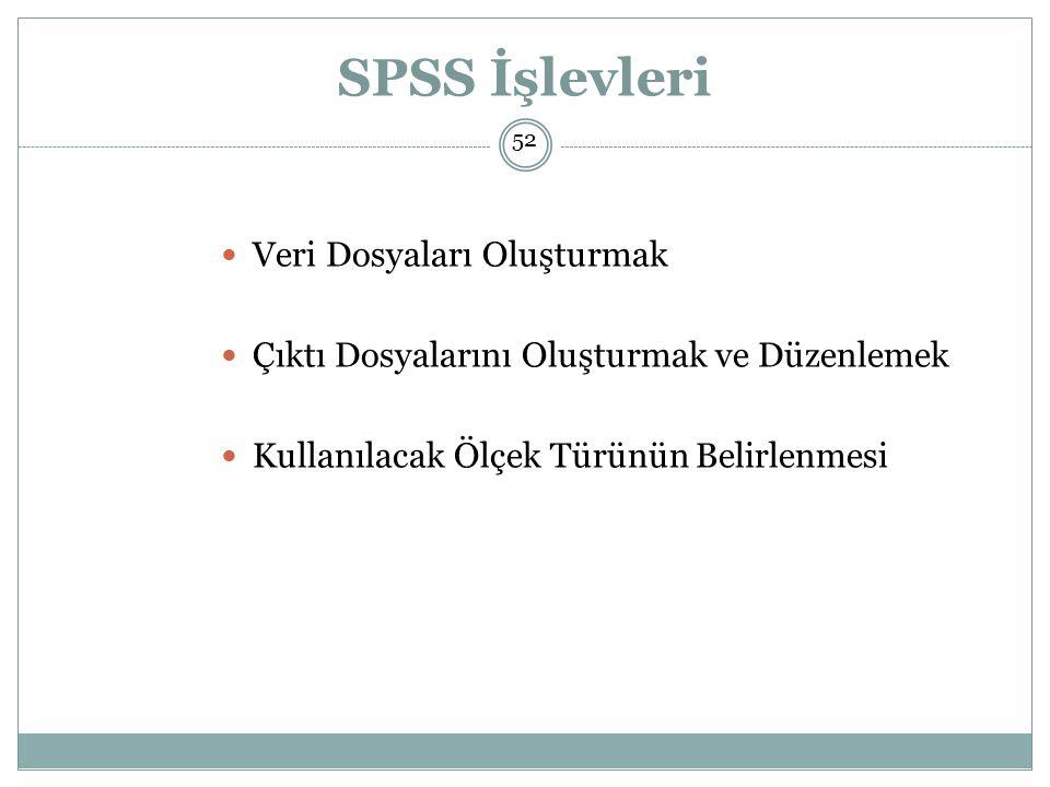 SPSS İşlevleri Veri Dosyaları Oluşturmak Çıktı Dosyalarını Oluşturmak ve Düzenlemek Kullanılacak Ölçek Türünün Belirlenmesi 52