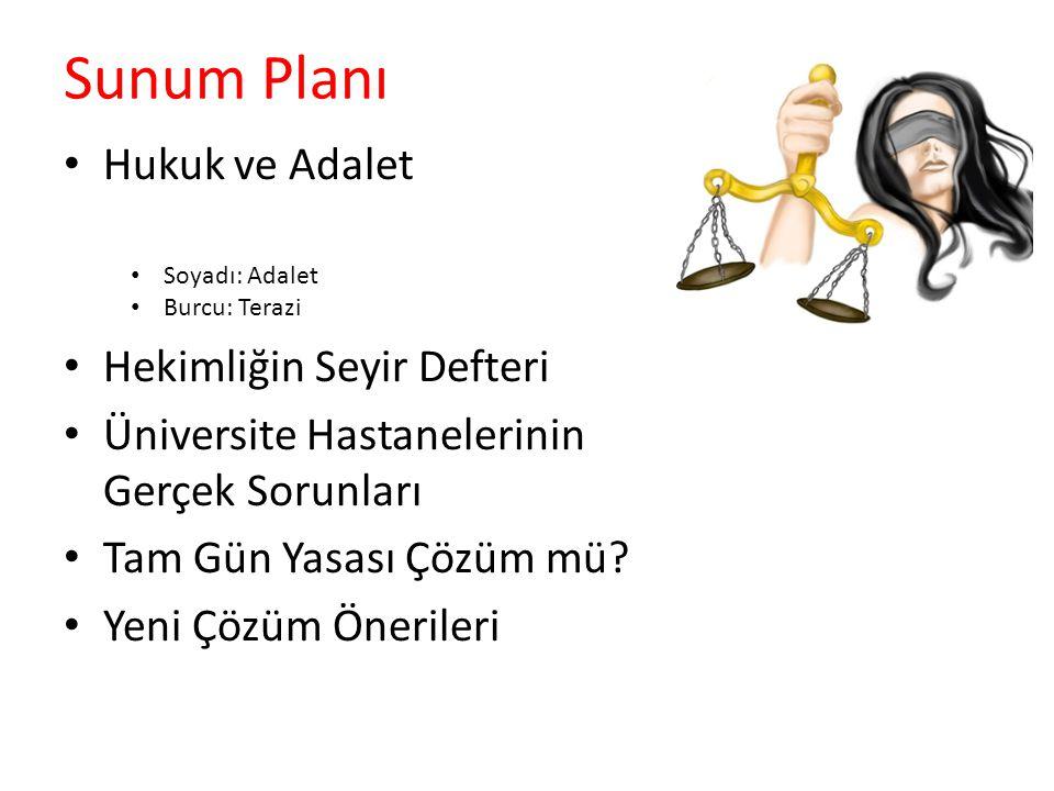 Sunum Planı Hukuk ve Adalet Hekimliğin Seyir Defteri Üniversite Hastanelerinin Gerçek Sorunları Tam Gün Yasası Çözüm mü.