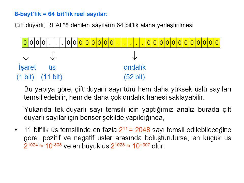 8-bayt'lık = 64 bit'lik reel sayılar: Çift duyarlı, REAL*8 denilen sayıların 64 bit'lik alana yerleştirilmesi İşaret üs ondalık (1 bit) (11 bit) (52 b