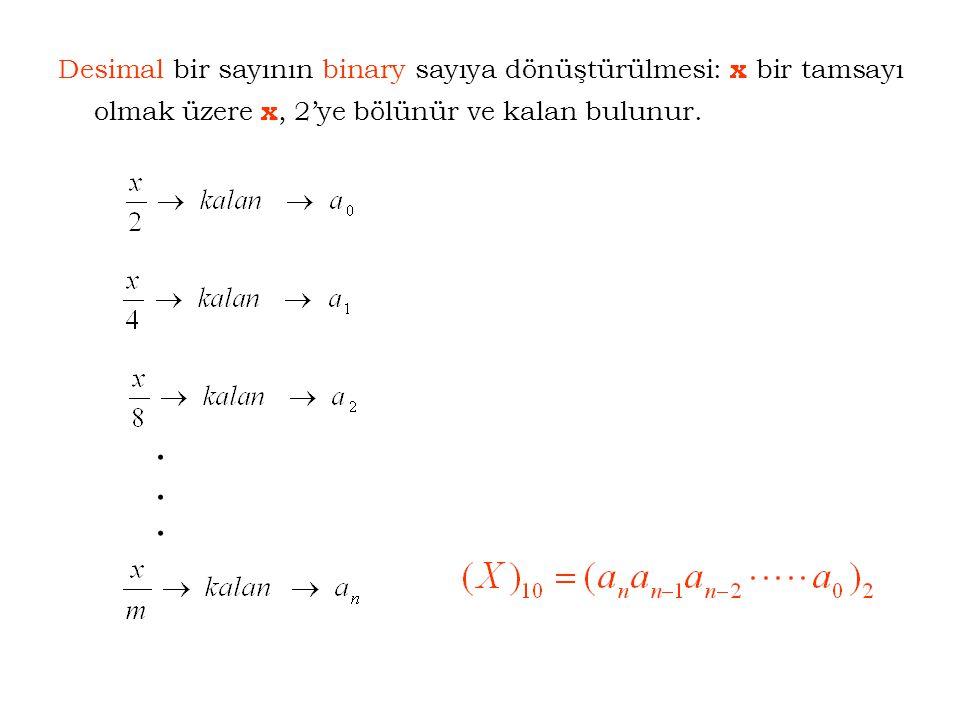 Desimal bir sayının binary sayıya dönüştürülmesi: x bir tamsayı olmak üzere x, 2'ye bölünür ve kalan bulunur..