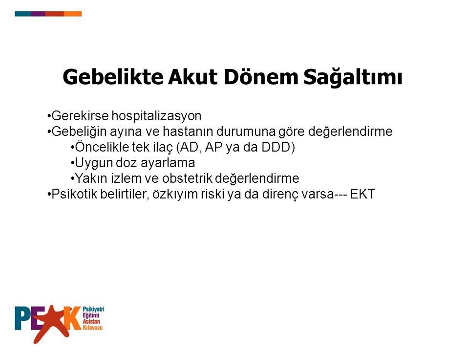 Gebelikte Akut Dönem Sağaltımı Gerekirse hospitalizasyon Gebeliğin ayına ve hastanın durumuna göre değerlendirme Öncelikle tek ilaç (AD, AP ya da DDD)