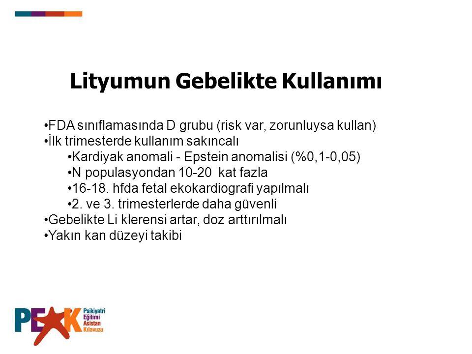 Lityumun Gebelikte Kullanımı FDA sınıflamasında D grubu (risk var, zorunluysa kullan) İlk trimesterde kullanım sakıncalı Kardiyak anomali - Epstein an