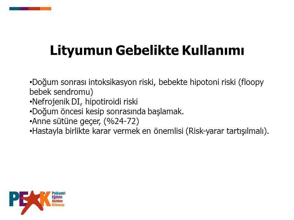 Lityumun Gebelikte Kullanımı Doğum sonrası intoksikasyon riski, bebekte hipotoni riski (floopy bebek sendromu) Nefrojenik DI, hipotiroidi riski Doğum