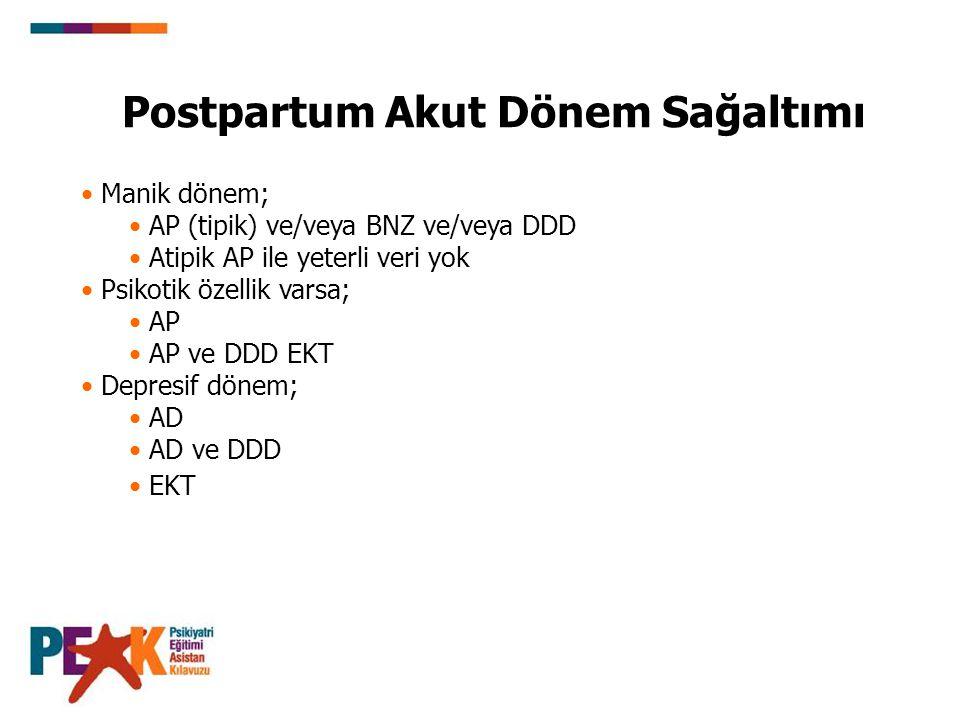 Manik dönem; AP (tipik) ve/veya BNZ ve/veya DDD Atipik AP ile yeterli veri yok Psikotik özellik varsa; AP AP ve DDD EKT Depresif dönem; AD AD ve DDD E
