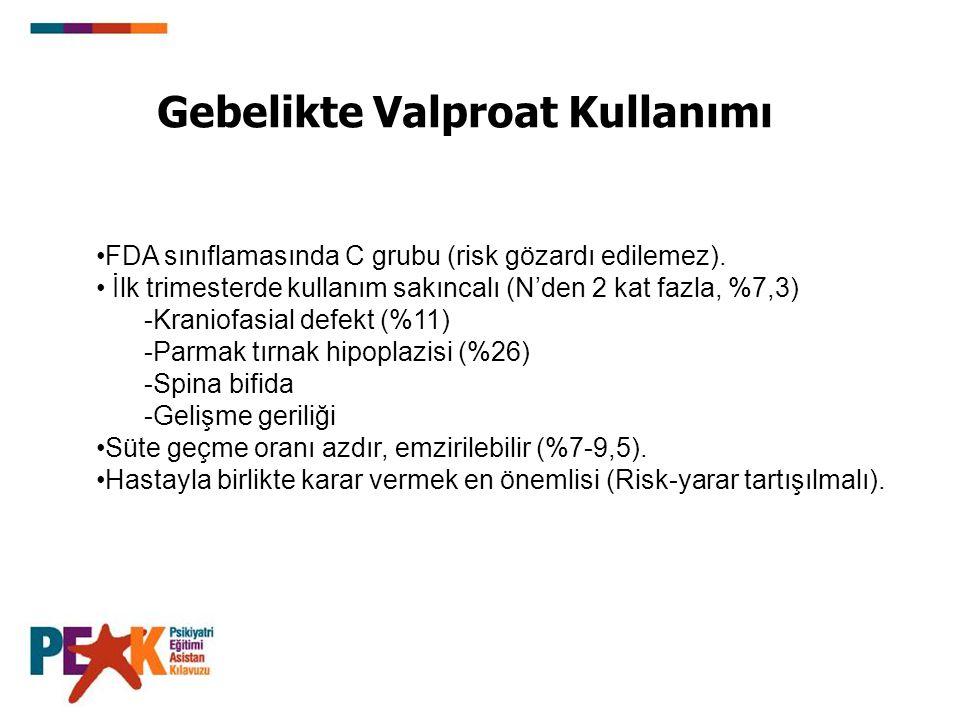 Gebelikte Valproat Kullanımı FDA sınıflamasında C grubu (risk gözardı edilemez). İlk trimesterde kullanım sakıncalı (N'den 2 kat fazla, %7,3) Kraniof