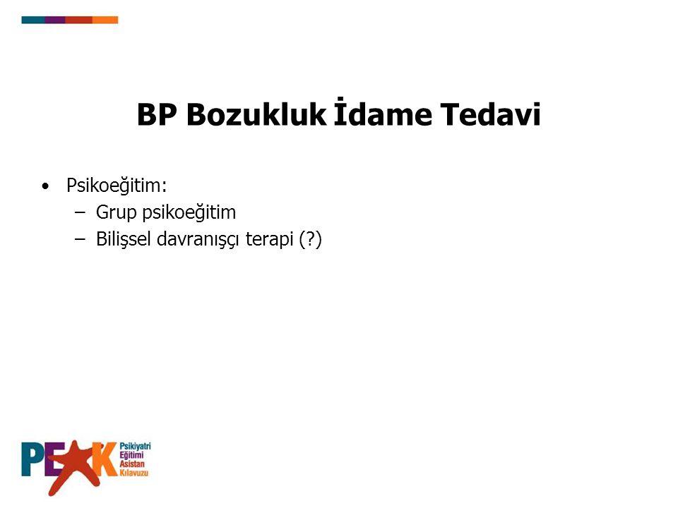 BP Bozukluk İdame Tedavi Psikoeğitim: –Grup psikoeğitim –Bilişsel davranışçı terapi (?)