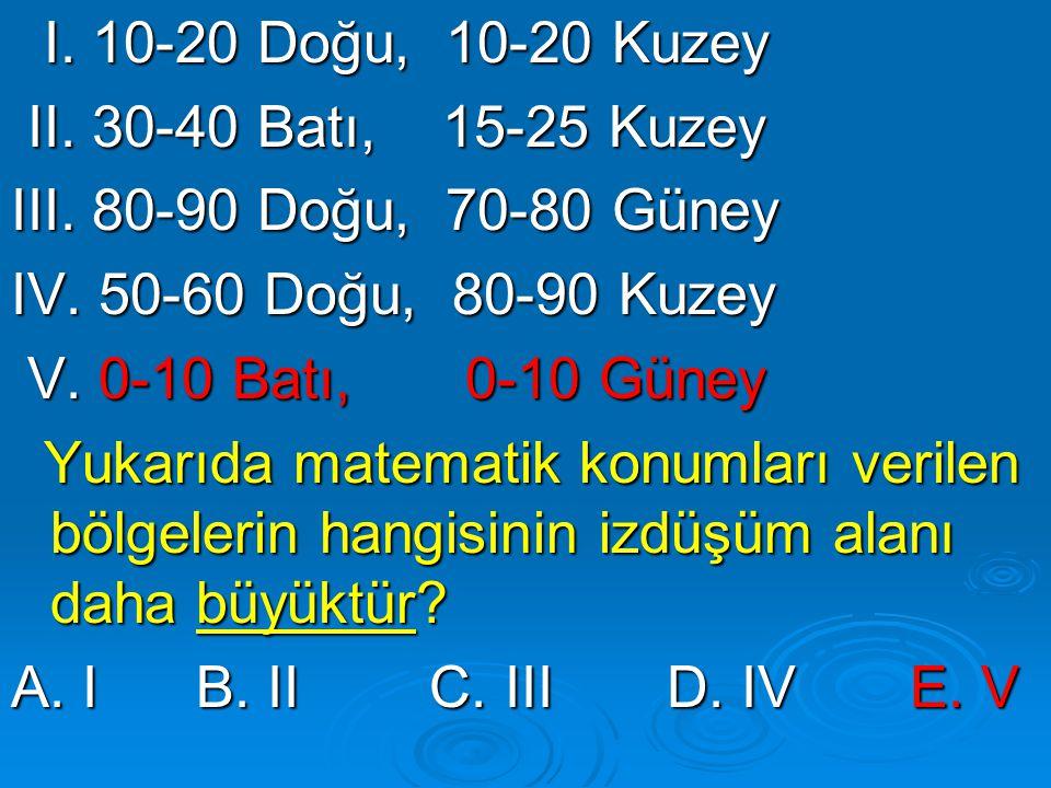 I. 10-20 Doğu, 10-20 Kuzey I. 10-20 Doğu, 10-20 Kuzey II. 30-40 Batı, 15-25 Kuzey II. 30-40 Batı, 15-25 Kuzey III. 80-90 Doğu, 70-80 Güney IV. 50-60 D